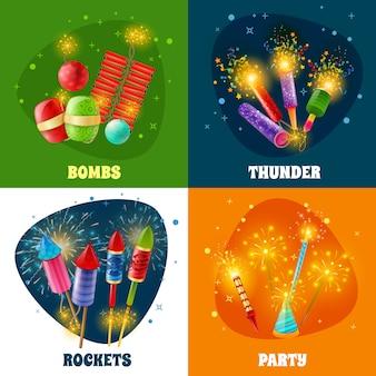 Fuegos artificiales galletas cohetes 4 iconos cuadrados