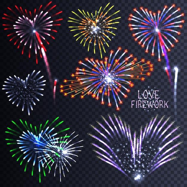 Fuegos artificiales con motivos festivos en forma de corazón. pictogramas brillantes.