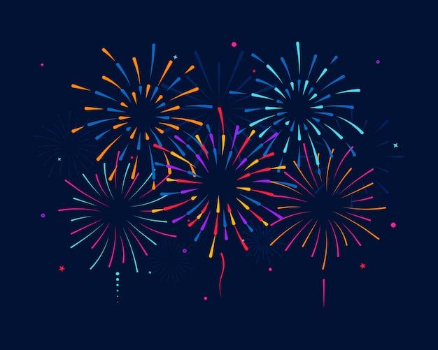 Fuegos artificiales multicolores aislados sobre fondo. celebrando cumpleaños o navidad. coloridos fuegos artificiales para fiesta, festival, fiestas, cielo multicolor, estrellas de explosión.