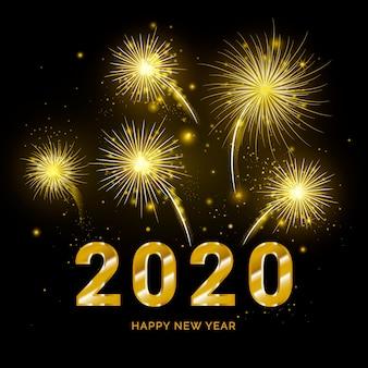 Fuegos artificiales de oro año nuevo 2020