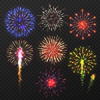 Fuegos artificiales realistas. carnaval explosión de fuegos artificiales multicolores, elementos pirotécnicos de celebración del día de navidad