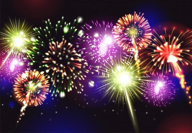 Fuegos artificiales realistas con celebración de fiesta