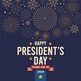 Fuegos artificiales saludo del día del presidente