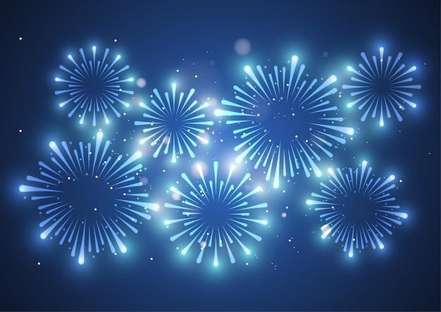 Fuegos artificiales sobre fondo blanco para la celebración
