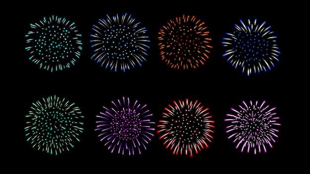 Fuegos artificiales vector colección de múltiples colores.