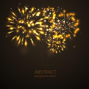 Fuegos artificiales en el vector de fondo crepuscular. fuegos artificiales celebración de vacaciones de año nuevo.
