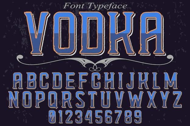 Fuente alfabética gráfica estilo vodka