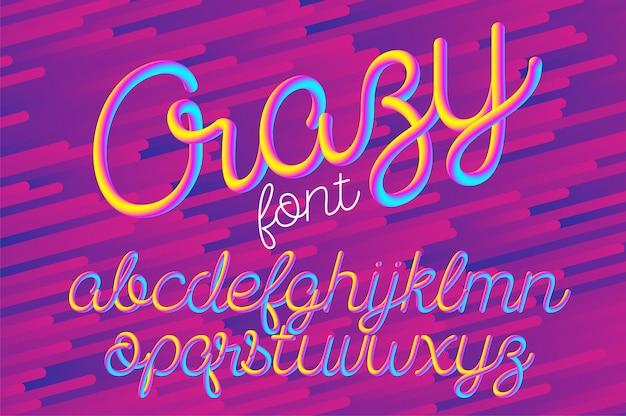 Fuente de alfabeto 3d de color loco
