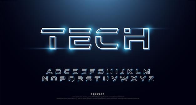 Fuente y alfabeto abstractos de neón de la tecnología.
