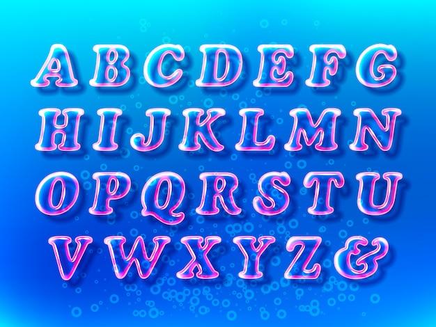 Fuente de alfabeto de burbujas de aire con transparencia y sombras en el espacio de agua azul