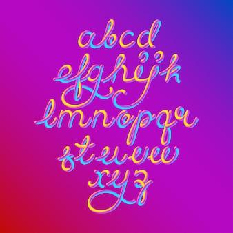 Fuente de alfabeto de color 3d