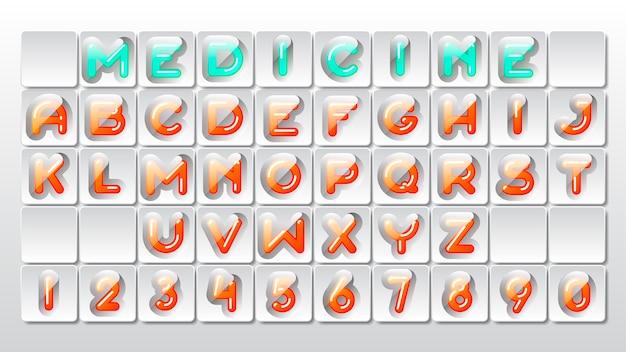 Fuente de alfabeto creativo personalizado como fila de vitaminas de colores o píldoras médicas en blister con cubierta transparente y sombras