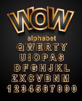 Fuente del alfabeto efecto dorado con letras y números