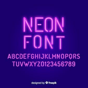 Fuente con alfabeto en estilo neón.