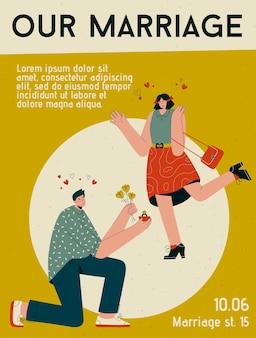 Fuente de alfabeto moderno abstracto en mayúsculas del cartel de nuestro concepto de matrimonio