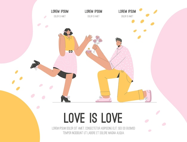 La fuente del alfabeto moderno abstracto en la página de aterrizaje en mayúsculas del amor es el concepto de amor