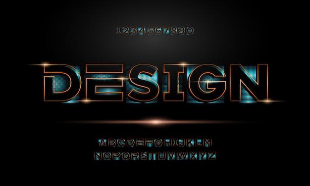 Fuente de alfabeto moderno abstracto. tipografía fuentes de estilo urbano para tecnología, digital, película, logo