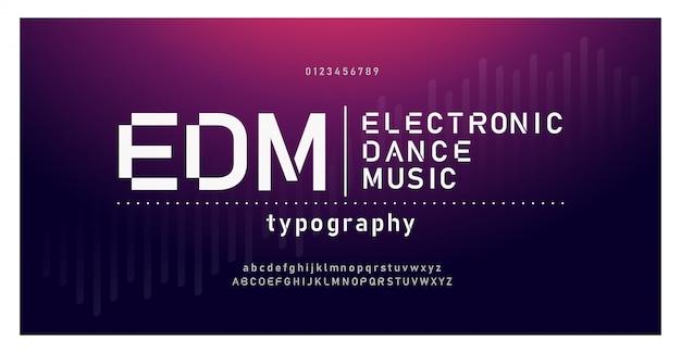 Fuente de alfabeto moderno de música digital. tipografía emd