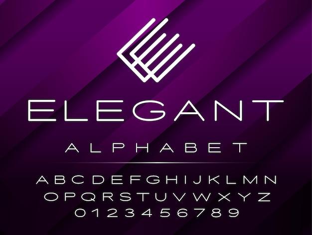 Fuente de alfabeto y números de diseño elegante