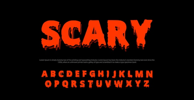 Fuente de alfabeto de película de miedo. concepto de diseños de horror de tipografía