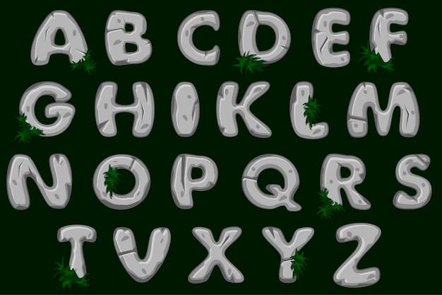 Fuente de alfabeto de piedra gris de dibujos animados, abc.