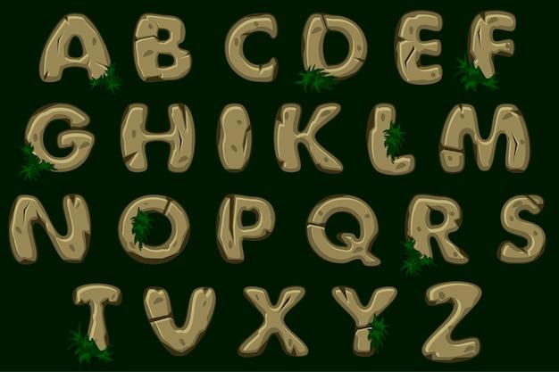 Fuente de alfabeto de piedra marrón de dibujos animados, abc.