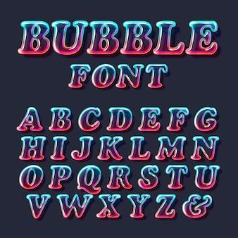 Fuente de alfabeto de vidrio de burbuja de color surrealista con transparencia y sombras