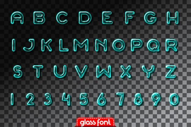 Fuente de alfabeto de vidrio súper realista con transparencia y sombras