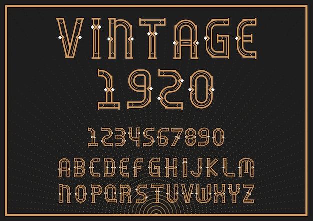 Fuente alfabeto vintage con letras y números