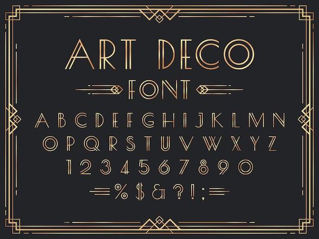 Fuente art deco de oro. letras geométricas decorativas de lujo de los años 20, números de oro ornamentales y conjunto de marcos retro.