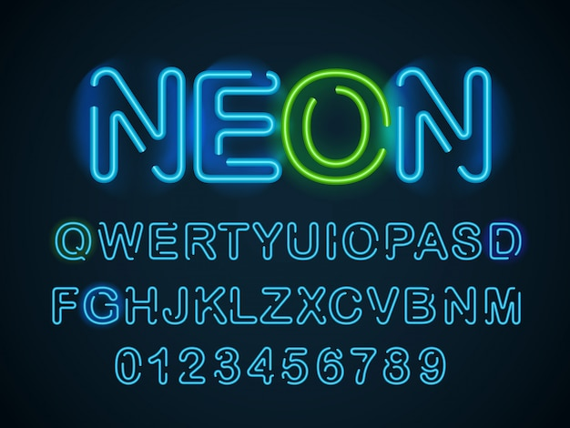 Fuente azul neón. alfabeto inglés y conjunto de dígitos.