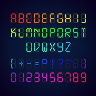 Fuente brillante digital colorida. ilustración de letras y números con signos de puntuación sobre fondo azul.