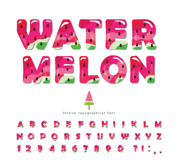 Fuente brillante de verano sandía. alfabeto decorativo de dibujos animados.