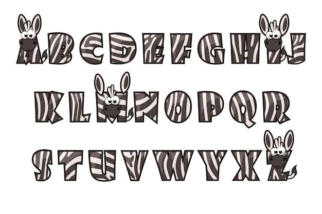 Fuente de cebra de dibujos animados letras. conjunto de alfabeto
