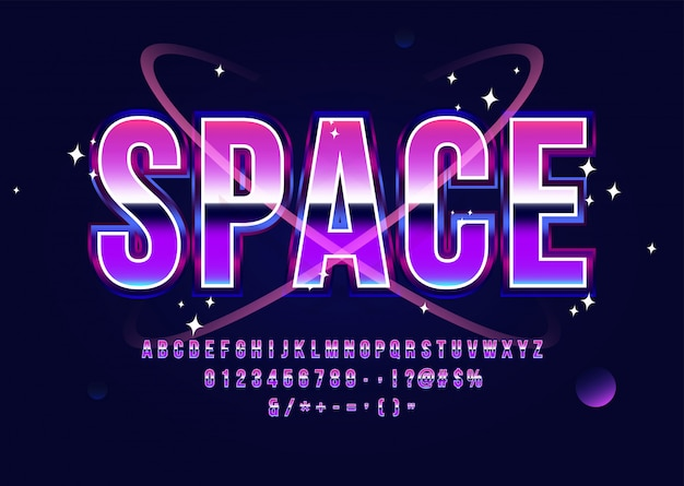 Fuente de ciencia ficción de espacio retro alfabeto futurista con planetas y estrellas