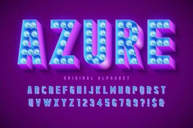 Fuente de cine retro, cabaret, lámparas letras y números. control de color de muestras