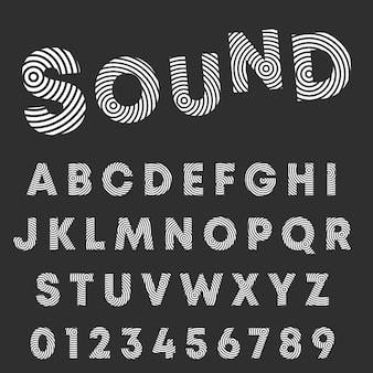 Fuente circular de alfabeto de línea