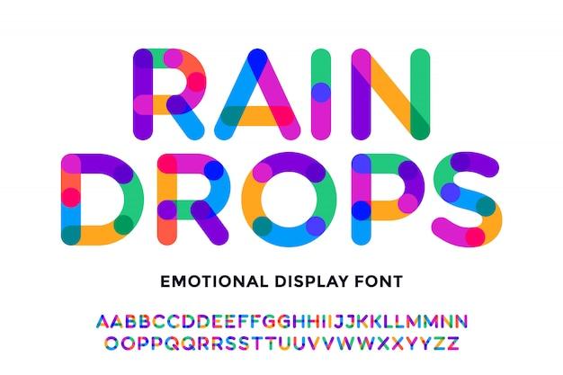 Fuente colorida fuente y alfabeto brillante colorido