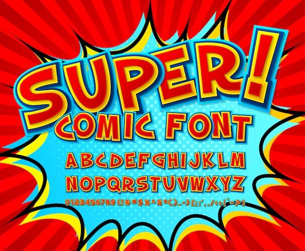 Fuente de cómic genial, alfabeto infantil en estilo de libro de cómics, arte pop. números graciosos de letras rojas y números