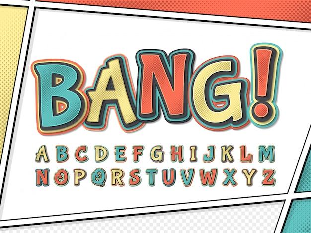 Fuente cómica alfabeto de dibujos animados en la página de cómic