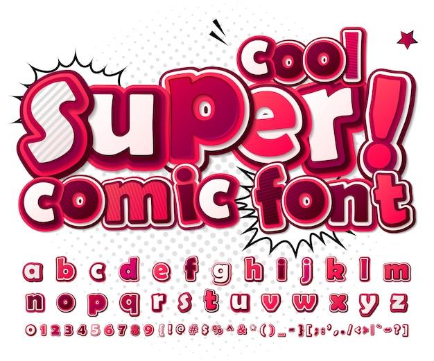Fuente cómica de dibujos animados. alfabeto rosa en estilo de cómics, pop art. cifras y letras 3d multicapa