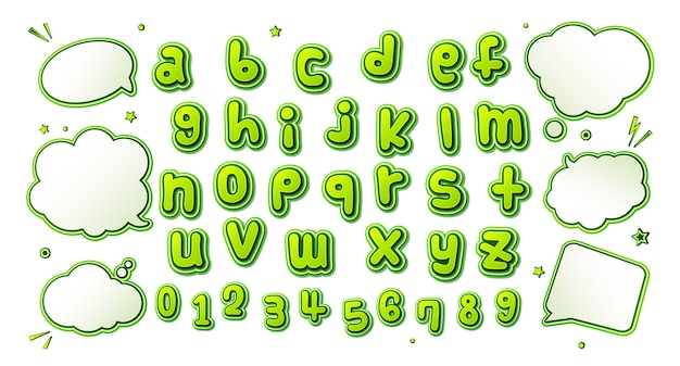 Fuente de cómics, alfabeto verde en estilo pop art y conjunto de burbujas de discurso
