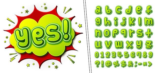 Fuente de cómics y cartel con la palabra sí. alfabeto infantil en estilo pop art. letras verdes multicapa con efecto de semitono en la página del cómic