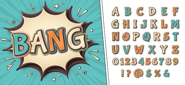 Fuente de cómics y póster con la palabra bang. alfabeto en estilo del arte pop. letras retro multicapa con efecto de trama de semitonos