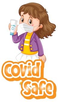 Fuente covid safe en estilo de dibujos animados con una niña con máscara médica sobre fondo blanco.