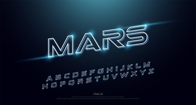 Fuente de neón de tecnología abstracta y alfabeto. efecto techno