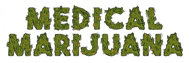 Fuente decorativa de marihuana verde con diseño de letras aisladas.
