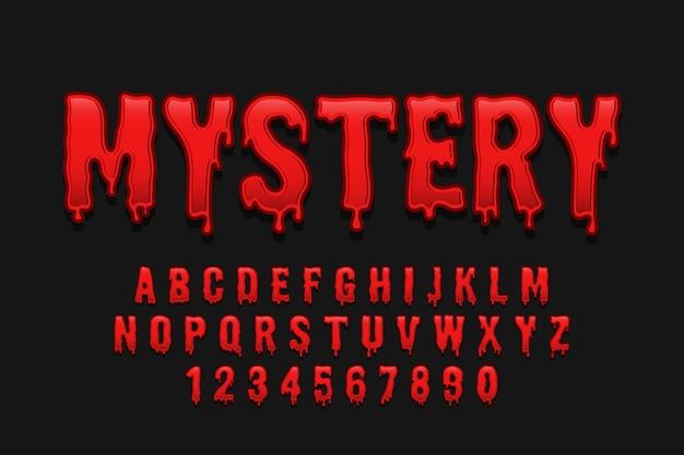 Fuente decorativa misteriosa y alfabeto