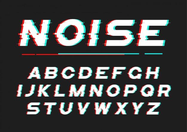 Fuente decorativa en negrita con ruido digital, distorsión, efecto de falla