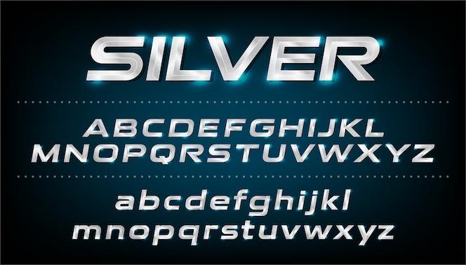 Fuente del alfabeto metálico, efecto de plata letras cursivas. abc, minúsculas y mayúsculas